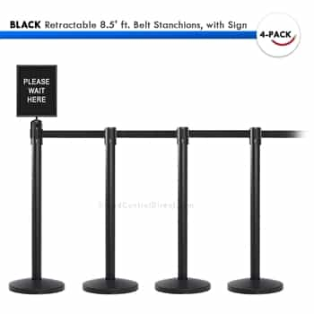 Movie Theater Line Barrier Set 4 Black Retractable 8 5