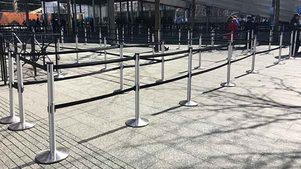ADA compliant, outdoor rated, double belt stanchions in NYC.