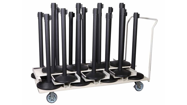 Set of 18 Retractable Belt Stanchions with Vertical Storage Cart