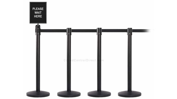 Set of 4 Belt Stanchions with Signage