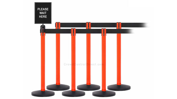 Set of 6 Retractable Belt Stanchions with Signage